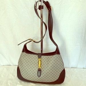 GUCCI Navy Blue Canvas and Leather Trim Jackie